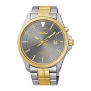 Seiko® Mens Two-Tone Stainless Steel Band Kinetic Watch SKA582