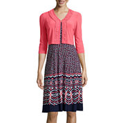 Danny & Nicole® 3/4-Sleeve Print Jacket Dress