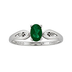 Genuine Emerald and Diamond-Accent 14K White Gold Ring