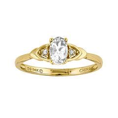 Genuine White Topaz Diamond-Accent 14K Yellow Gold Ring