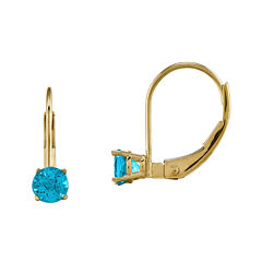 Genuine Swiss Blue Topaz 14K Yellow Gold Drop Earrings
