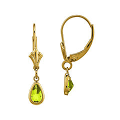 Genuine Green Peridot 14K Yellow Gold Pear Drop Earrings
