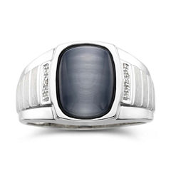 Mens Diamond-Accent Synthetic Gray Cat's-Eye Ring