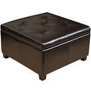 Prescott Tufted Bonded Leather Storage Ottoman