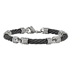 Edward Mirell Mens 8 Inch Stainless Steel Titanium Link Bracelet
