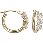 14K Yellow Gold Triple Cubic Zirconia Hoop Earrings
