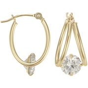 14K Yellow Gold Captured Cubic Zirconia Hoop Earrings