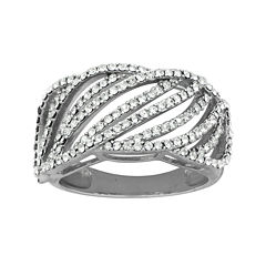 Crystal Sterling Silver Crystal Open Line Ring