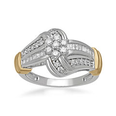 1/2 CT. T.W. Diamond Two-Tone Cluster Ring
