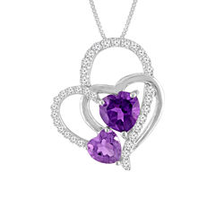 Lab-Created Amethyst & White Sapphire Sterling Silver Triple Interlocking Heart Pendant Necklace