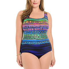 Le Cove Bordered One Piece Swimsuit Plus