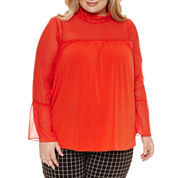 Worthington Long Sleeve Mock Neck Knit Blouse-Plus