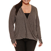 Xersion Long Sleeve Draped Neck T-Shirt-Plus