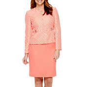 Isabella Long-Sleeve Jacquard Jacket and Solid Skirt Suit Set