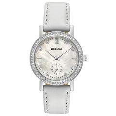 Bulova Womens White Strap Watch-96l245