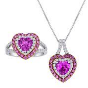 Lab-Created Pink and White Sapphire Heart Pendant Necklace and Ring Set