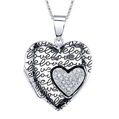 Inspired Moments™ Cubic Zirconia Sterling Silver Heart Locket Necklace