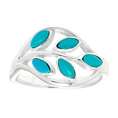 Sparkle Allure Simulated Turquoise Cocktail Ring