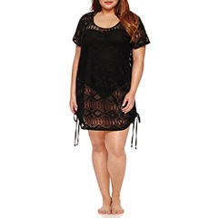 a.n.a Solid Crochet Swimsuit Cover-Up Dress-Plus