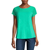 Liz Claiborne Short Sleeve Crew Neck T-Shirt