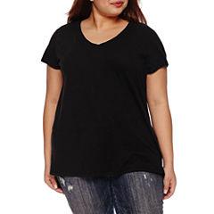 Boutique + Short Sleeve V Neck T-Shirt-Womens Plus