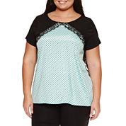 Worthington® Short Sleeve Lace Blocked Tee - Plus