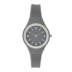 Womens Gray Rubber Strap Watch
