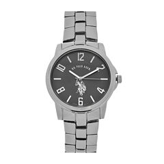 U.S. Polo Association® Mens Silver and Black Bracelet Watch