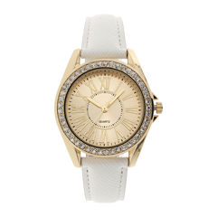 Womens Crystal-Accent White Strap Watch