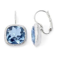 Monet® Silver-Tone Blue Leverback Earrings