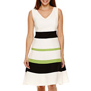 Black Label by Evan-Picone Sleeveless Colorblock Fit And Flare Dress