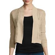 Ronni Nicole 3/4-Sleeve Crochet Shrug