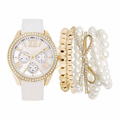 Mixit Womens White 7-pc. Watch Boxed Set-Jc2098g569-027