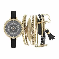 Mixit Womens Black Watch Boxed Set-Jc2150g569-003