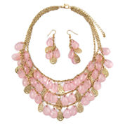 Mixit Womens  Pink Teardrop Filigree Illusion Set