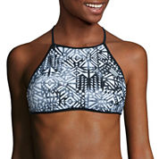 Arizona Mix & Match Stripe Halter Swimsuit Top-Juniors