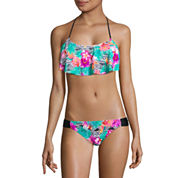 Arizona Floral Flounce Swimsuit Top or Side Tab Hipster-Juniors
