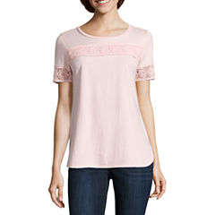 Liz Claiborne Short Sleeve Lace Trim Crew Neck T-Shirt