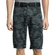 Plugg® Highland Relaxed-Fit Stacked Pocket Belted Twill Cargo Shorts