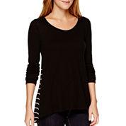 a.n.a® Long-Sleeve Woven-Back T-Shirt- Petite