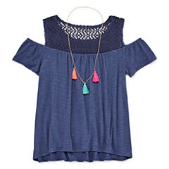 Arizona Lace Cold Shoulder with Necklace - Girls' 7-16 and Plus