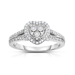True Miracle Womens 1/4 CT. T.W. Genuine White Diamond Sterling Silver Cocktail Ring