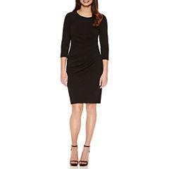 Bisou Bisou 3/4 Sleeve Lined Sheath Dress