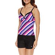 Free Country Stripe Tankini Swimsuit Top