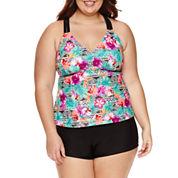 Arizona Floral Tankini Swimsuit Top-Juniors Plus