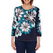 Alfred Dunner Scenic Route 3/4 Sleeve Crew Neck Floral Pullover Sweater-Petites