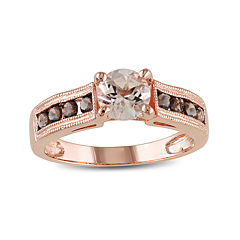 Genuine Morganite and Smoky Quartz 14K Rose Gold Over Sterling Silver Ring