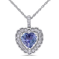 Genuine Tanzanite and Diamond Heart Pendant