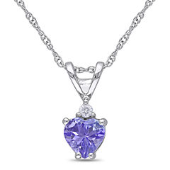 Genuine Tanzanite & Diamond-Accent 10K White Gold Heart Pendant Necklace