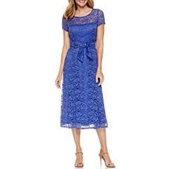 Perceptions Short Sleeve Fit & Flare Dress